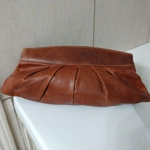 Fossil leather clutch in natural